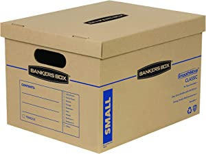 Bankers Box SmoothMove Classic Moving Boxes, Tape-Free Assembly, Easy Carry Handles, Small, 15 x 12 x 10 Inches, 5 Pack (7714902)