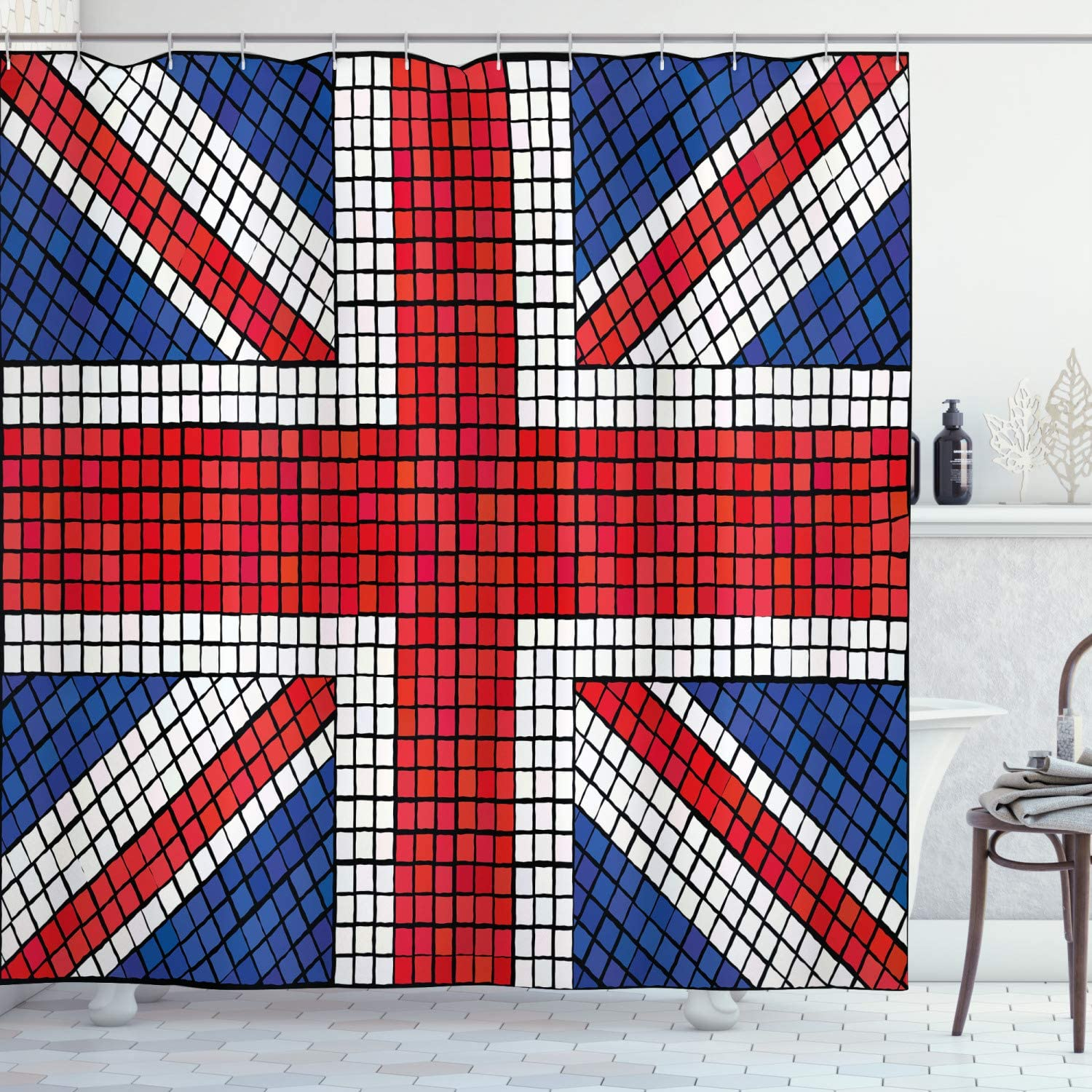 Amazon Com Ambesonne Union Jack Shower Curtain Mosaic Tiles Inspired Design British Flag National Identity Culture Fabric Bathroom Decor Set With Hooks 70 Long Royal Blue Red White Home Kitchen