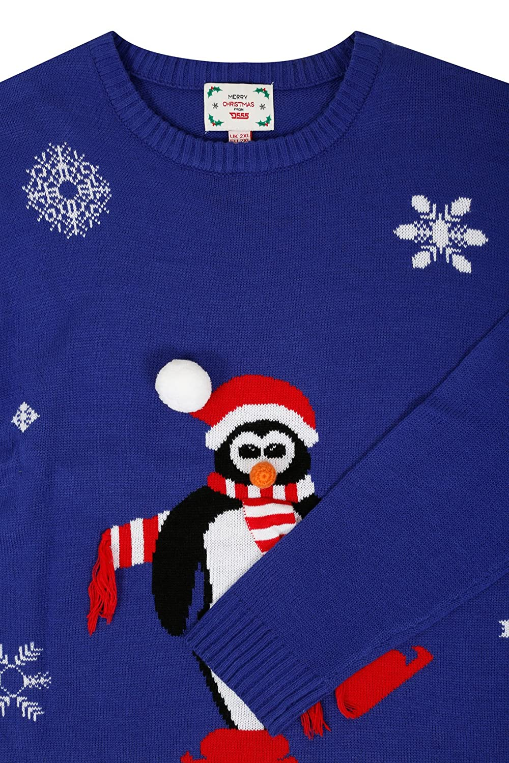 Yoursclothing Mens D555 & Multi Christmas Penguin Jumper