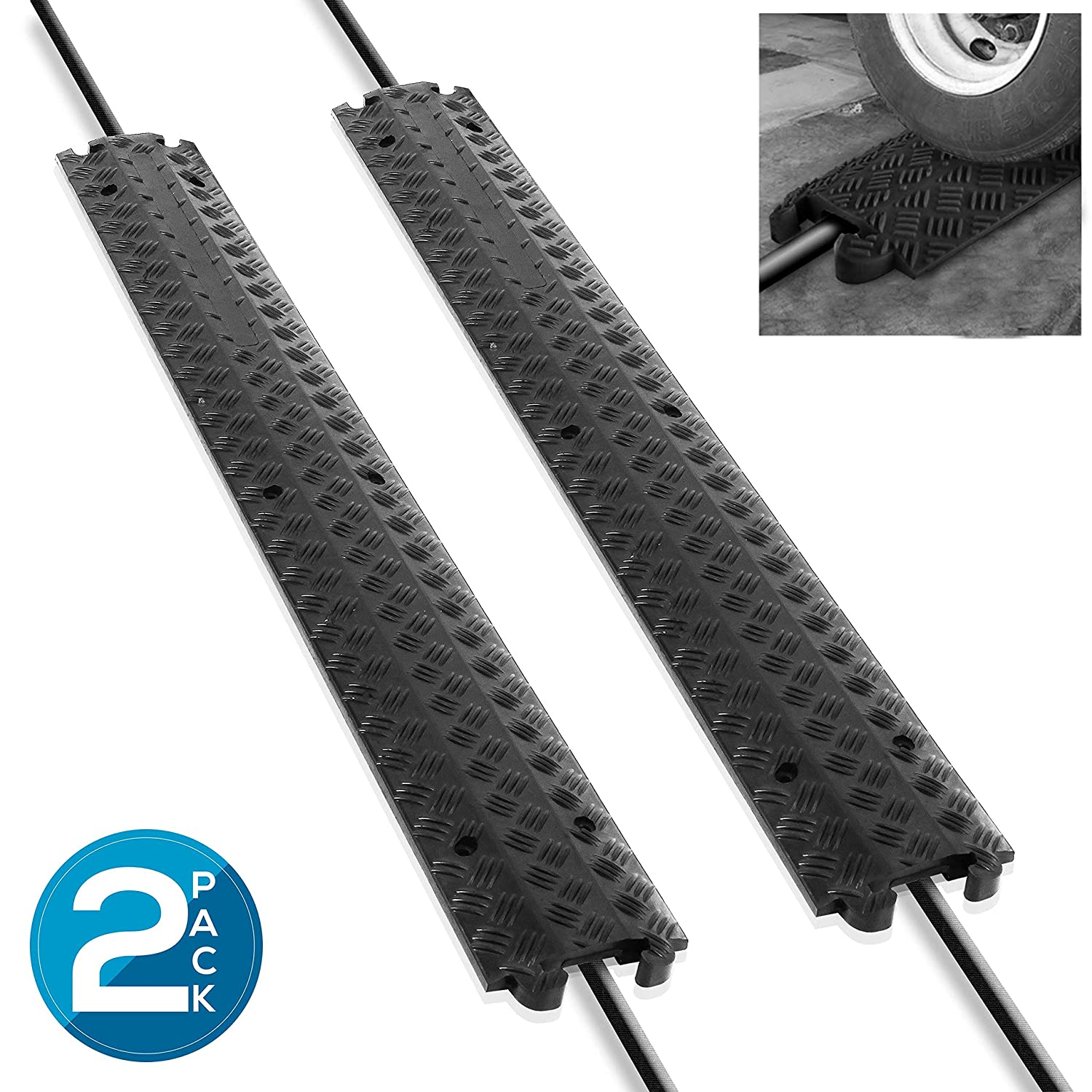 Pyle Black/Double Ramp-1 Channel Rubber Floor Cord Concealer-Heavy Duty Cable Protector Wire/Hose/Pipe Hider Driveway Protective Covering Armor PCBLCO101X2 (Pair)