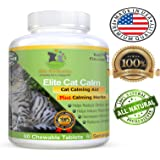Elite Cat Calm Advanced All Natural Calming Aid Relaxant for Cats Relieves Separation Anxiety Stress