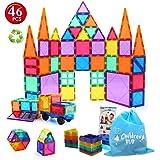 Children Hub 46pcs Magnetic Tiles Set - Building Construction Toys For Kids - Upgraded Version