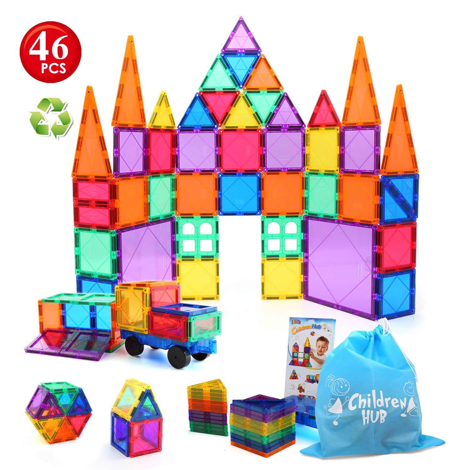 Children Hub 46pcs Magnetic Tiles Set - Educational 3D Magnet Building Blocks - Building Construction Toys for Kids - Upgraded Version with Strong Magnets - Creativity, Imagination, Inspiration by Children Hub