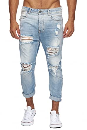 Megastyl Herren Hose Ripped Jeans hellblau Slim-Fit Stretch-Denim 7 8 Länge 4277ed1172