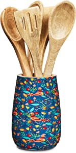 Colorful Mango Wood Cooking Utensil Holder for Kitchen Countertop (5 x 7 In)