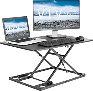 VIVO Black Ultra-Slim Single Top Height Adjustable 31 inch Standing Desk Converter | Compact Sit Stand Desktop Riser for Monitor or Laptop (DESK-V000I)