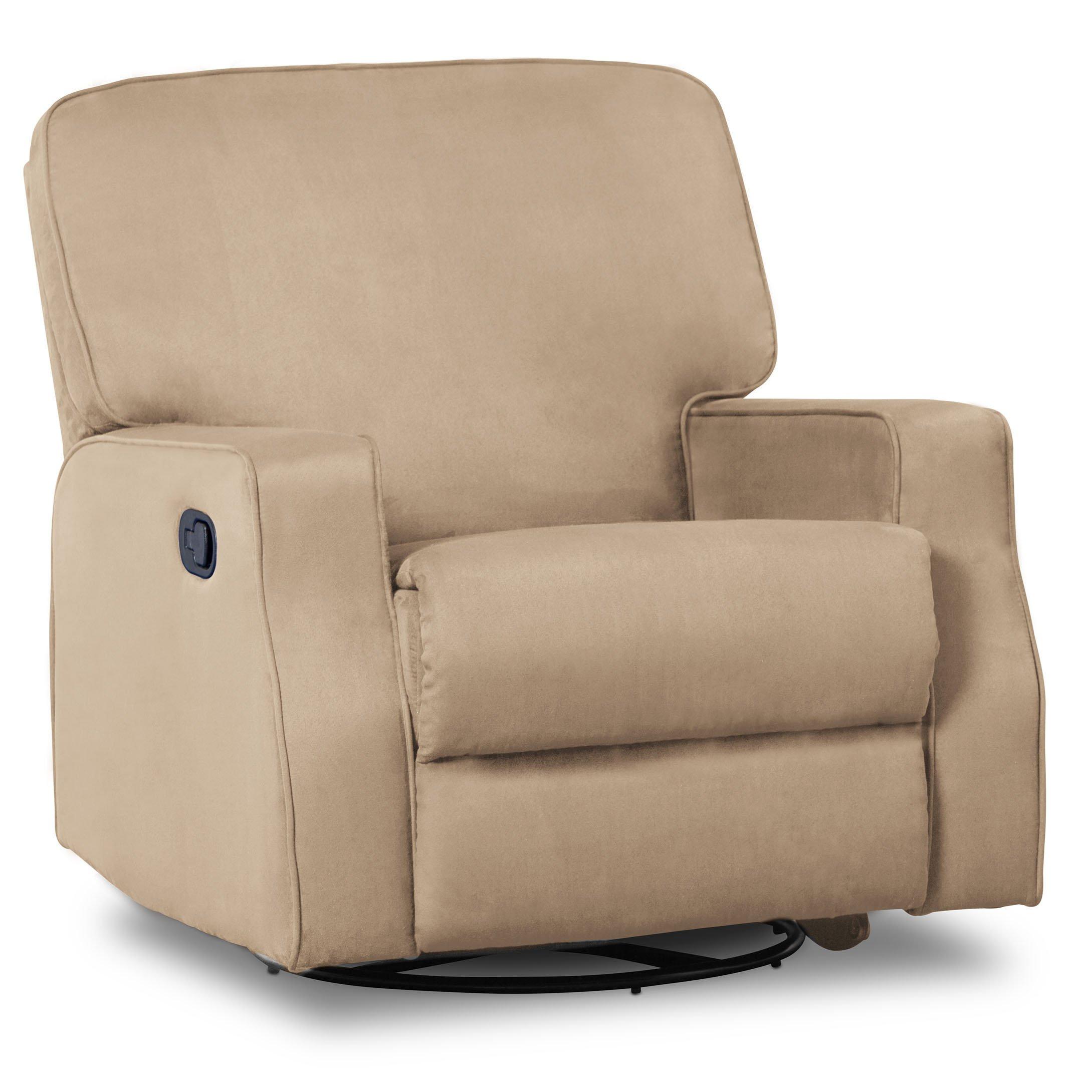 Delta Children Caleb Nursery Recliner Glider Swivel Chair, Beige