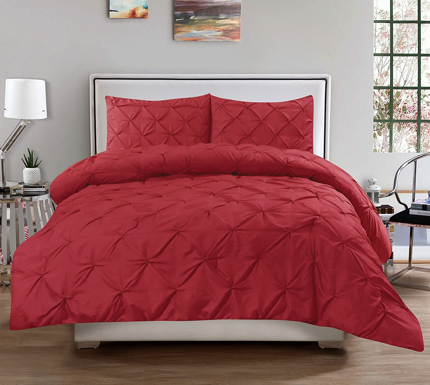 Burgundy 3 Piece Luxurious Pinch Pleat Decorative Pintuck Comforter Set