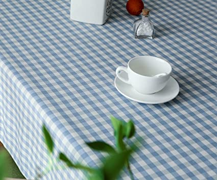 Rectangle Oblong Blue Gingham Tablecloth Blue And White Checkered Plaid  Table Cover For Picnics Outdoor Indoor