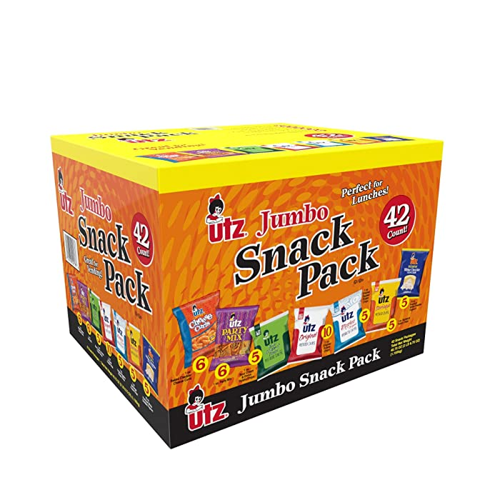Utz Snack Variety Pack (Pack of 42) Individual Snacks, Includes Potato Chips, Cheese Curls, Popcorn, and Party Mix, Crunchy Travel Snacks for Lunches, Vending Machines, and Enjoying on the Go