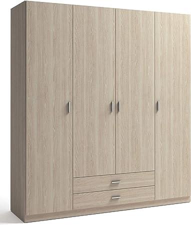 Miroytengo Armario ropero Dormitorio Color Sable Efecto Madera 4 Puertas 2 cajones 216x200x53 cm