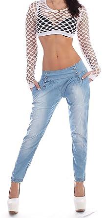 48e1b663942f25 Damen Boyfriend Jeans Chino Hose Haremhose Reiterhose Baggy in Hellblau  Hüftjeans XS 34 S 36 M