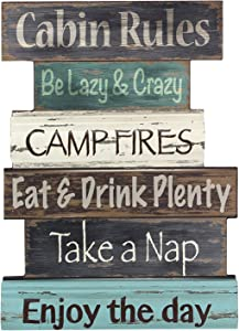 """Young's Wood Cabin Rule Wall Sign, 15.5"""""""