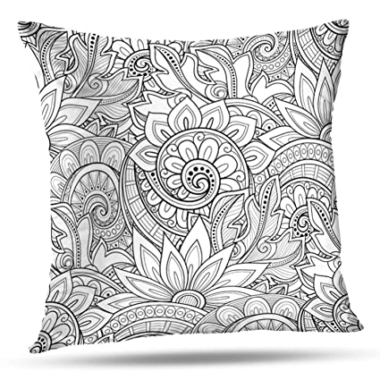 Sensational Amazon Com Lalilo Throw Pillow Coversmonochrome Floral Gmtry Best Dining Table And Chair Ideas Images Gmtryco