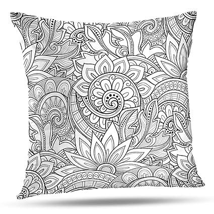 Amazon com: LALILO Throw Pillow CoversMonochrome Floral Flowers
