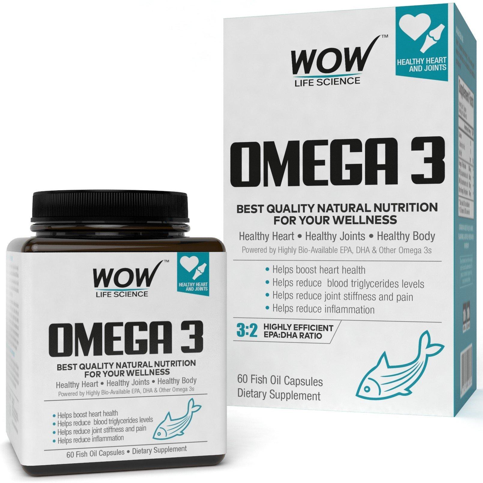 Wow Omega-3 Fish Oil 1000 mg Triple Strength 550 mg EPA 350 mg - 60 Capsules product image