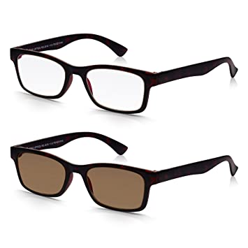 e87cbde184 Read Optics 2 Pack Black Brown Italian Style Front Reading Glasses    Sunreaders +1.5