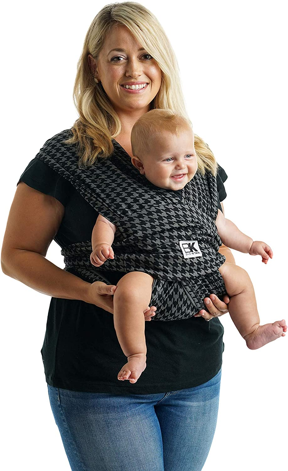 W Dress 10-14 // M Jacket 39-42 Carry Newborn up to 35 lbs Houndstooth No Rings or Buckles Simple Wrap Holder for Babywearing Infant and Child Sling Baby K/'tan Print Baby Wrap Carrier M