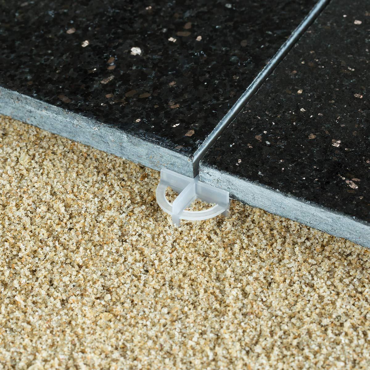 100 St/ück Beton- und Terrassenplatten Navaris Wiederverwendbare Fugenkreuze Abstandshalter aus Kunststoff f/ür Fliesen 28 mm x 28 mm x 1,5 cm