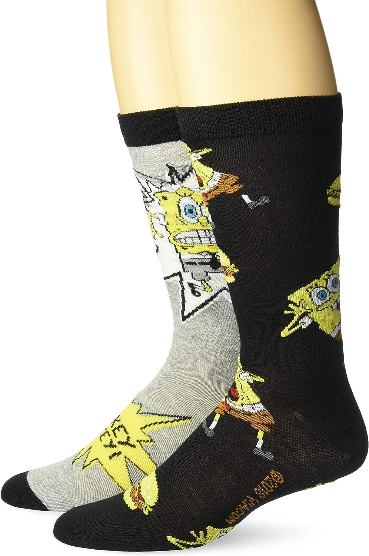 SpongeBob SquarePants Men's 2 Pack Crew Socks