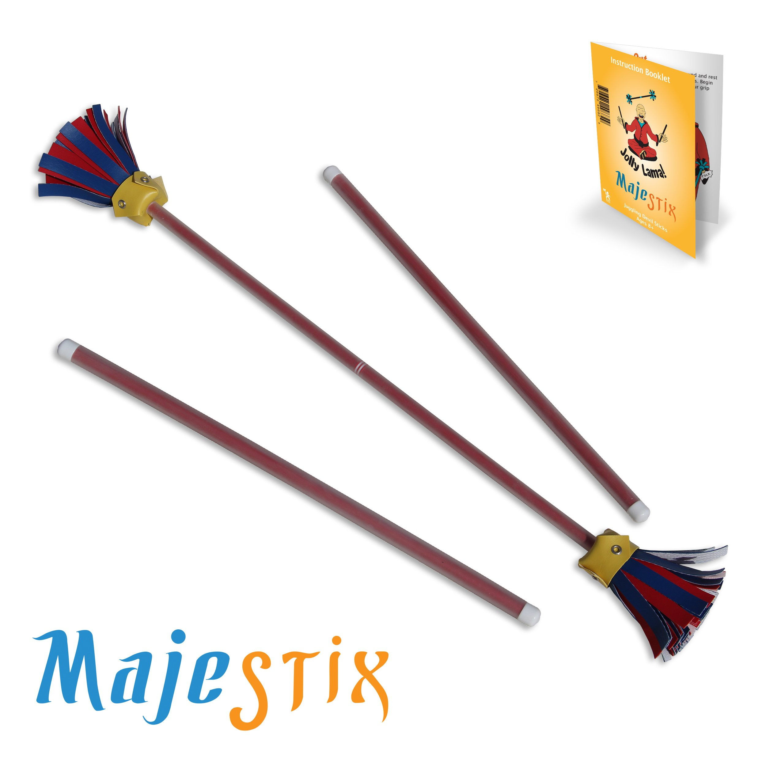 Red Majestix Juggling Sticks Devil Sticks by Jolly Lama!