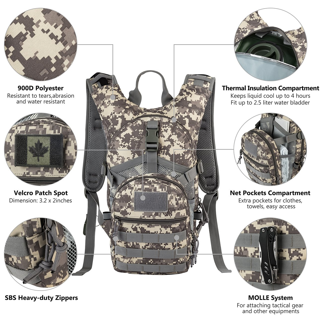 tactical molle hydration pack backpack 900d with 2l leak proof water