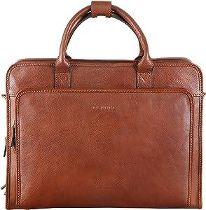 Banuce Vintage Full Grains Italian Leather Briefcase for Men Attache Case Tote Handbag Business Bag 14 Inch Laptop Shouder Messenger Bag