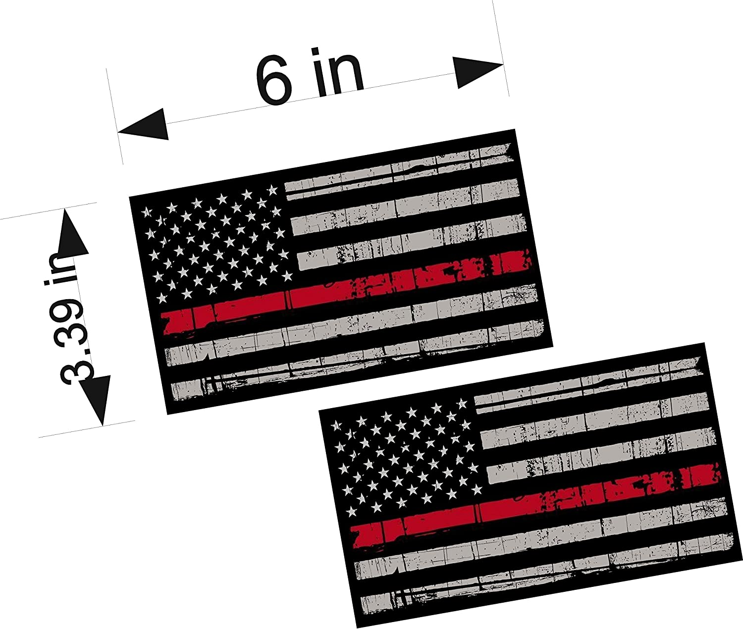 """Decals Firefighter Reflective Thin Red Line American Flags Mirrored 3/"""""""