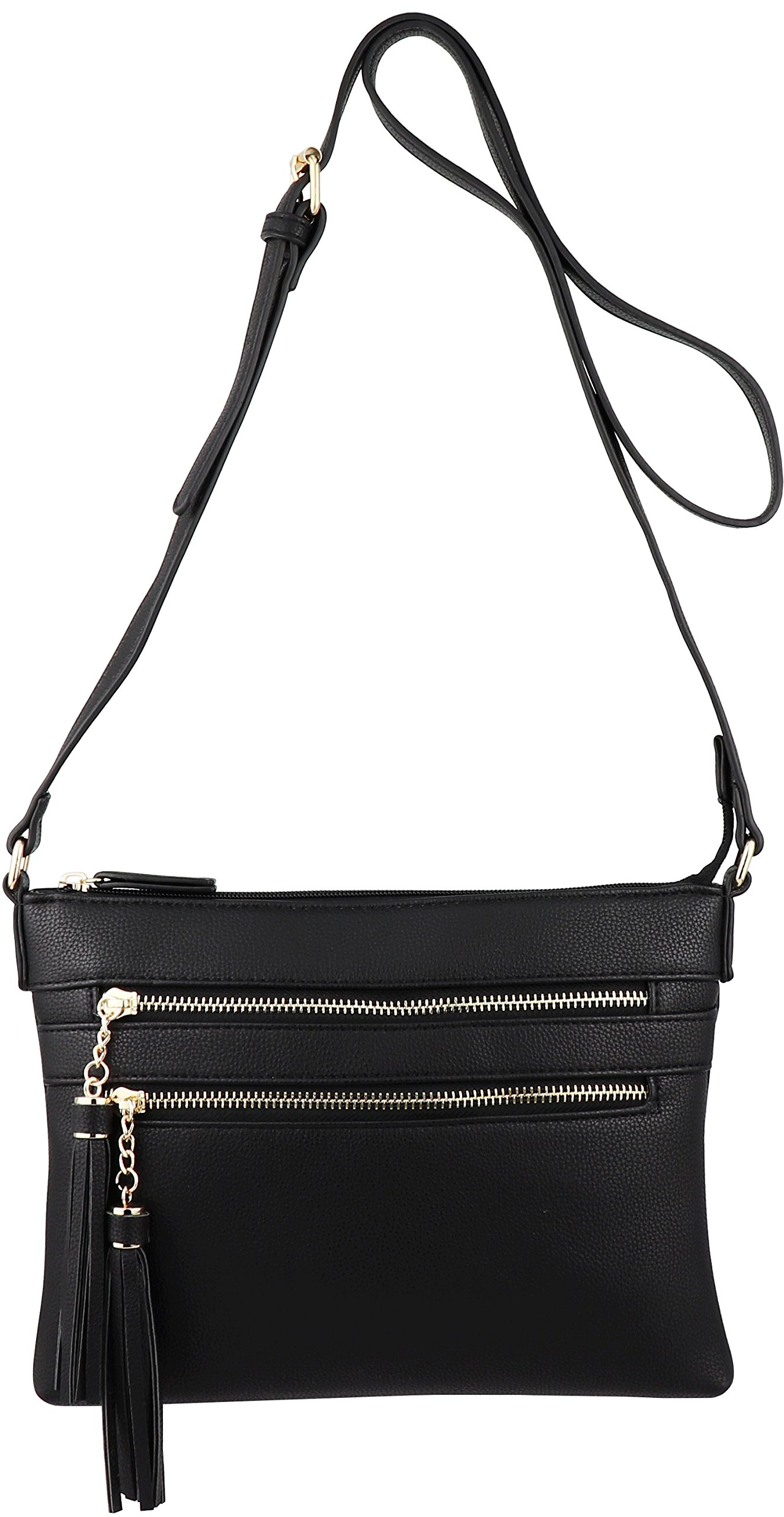 B BRENTANO Vegan Multi-Zipper Crossbody Handbag Purse with Tassel Accents (Black 1) by B BRENTANO (Image #3)