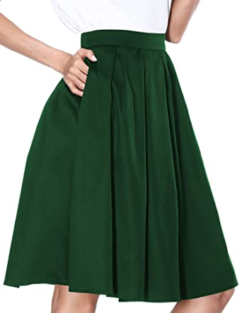 c54ddeccb Image Unavailable. Image not available for. Color: Janmid Women's High  Waisted A Line Street Skirt Skater Pleated Full Midi ...