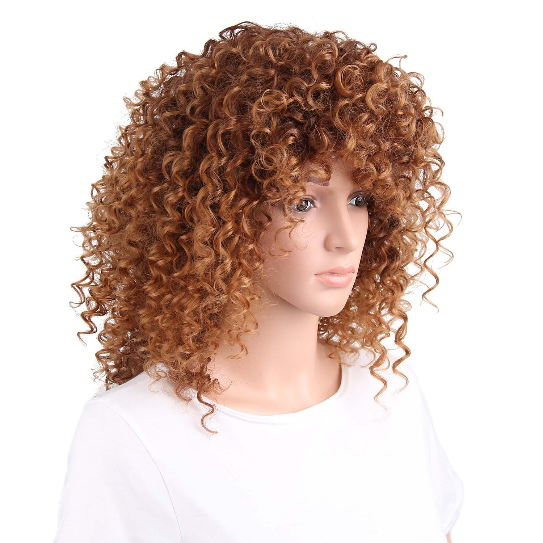Peluca larga de pelo natural rizado, para mujer, color marrón, estilo afro: Amazon.es: Belleza