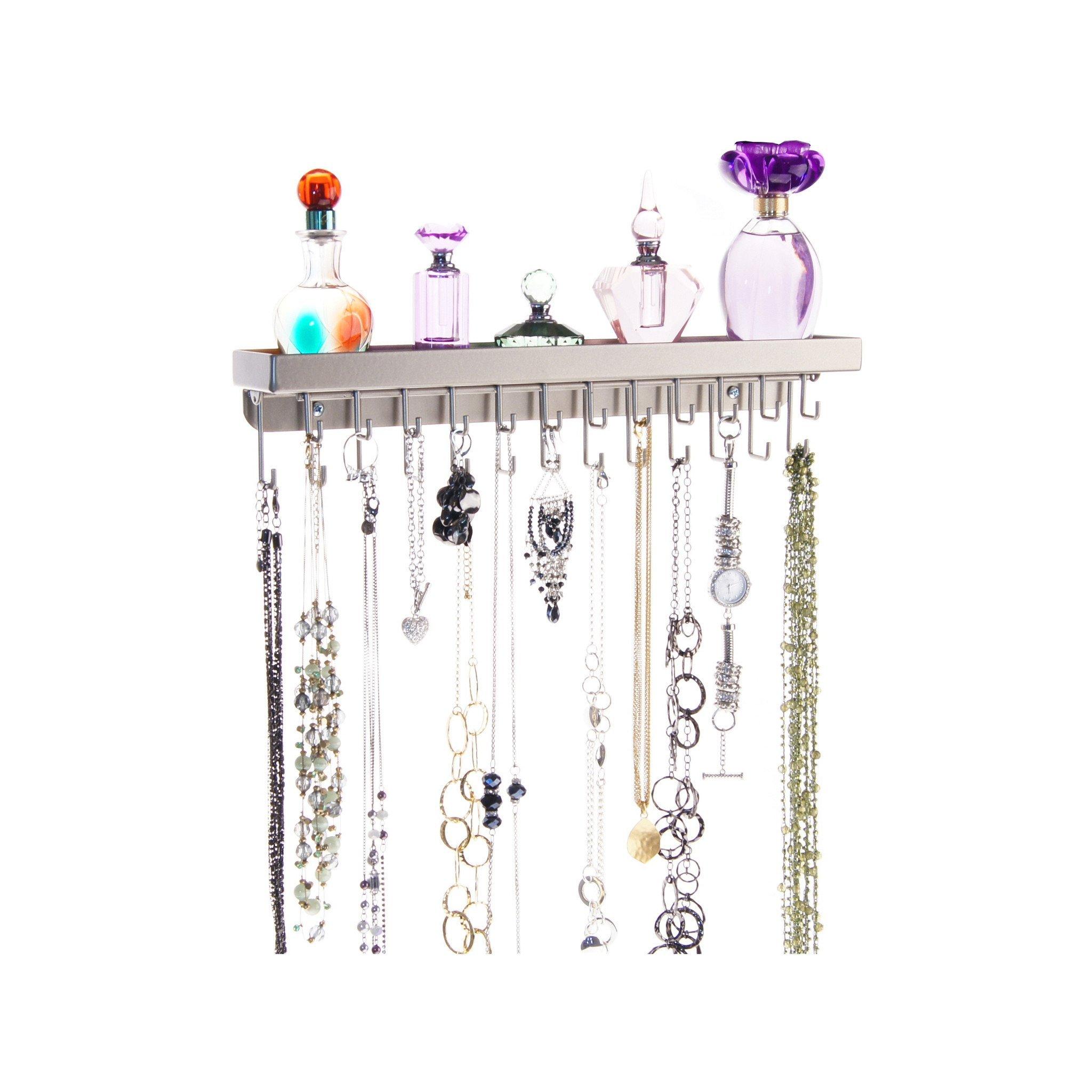 Necklace Holder Wall Mount Jewelry Organizer Hanging Bracelet Rack Closet  Storage, Schelon Satin Nickel Silver