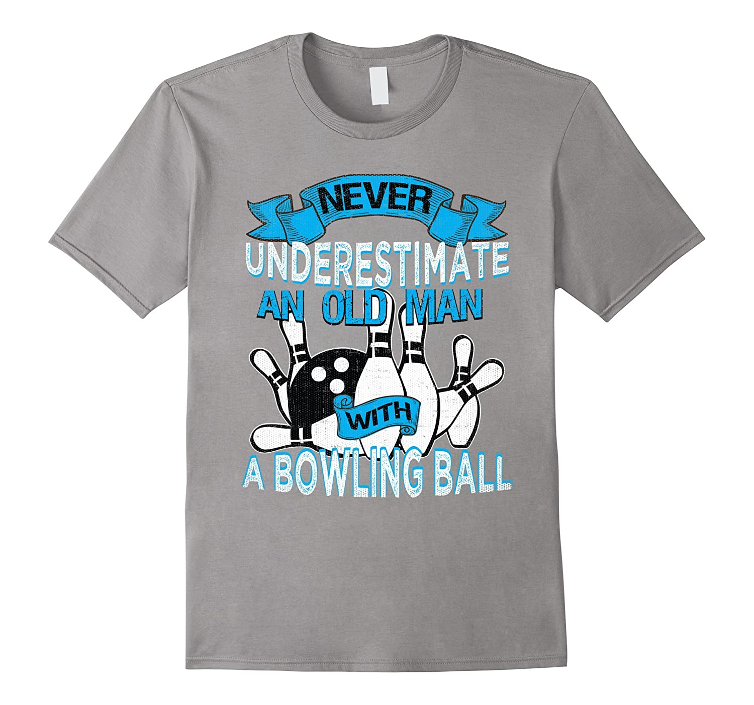 Mens Never Underestimate An Old Man With A Bowling Ball T Shirt Bn