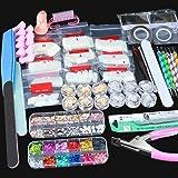 SPTHTHHPY Acrylic Nail Kit, Nail Art Set Acrylic Brush Glitter Clipper Dotting Pen File French Tips Nail Art Decoration…