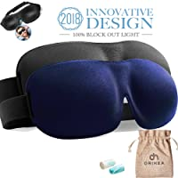 Schlafmaske OriHea 2er-Pack Augenmaske für besseren Schlaf, 3D konturierte bequeme ultraweiche Schlafbrille, Augenbinde & Ohrstöpsel Set mit Aufbewahrungstasche