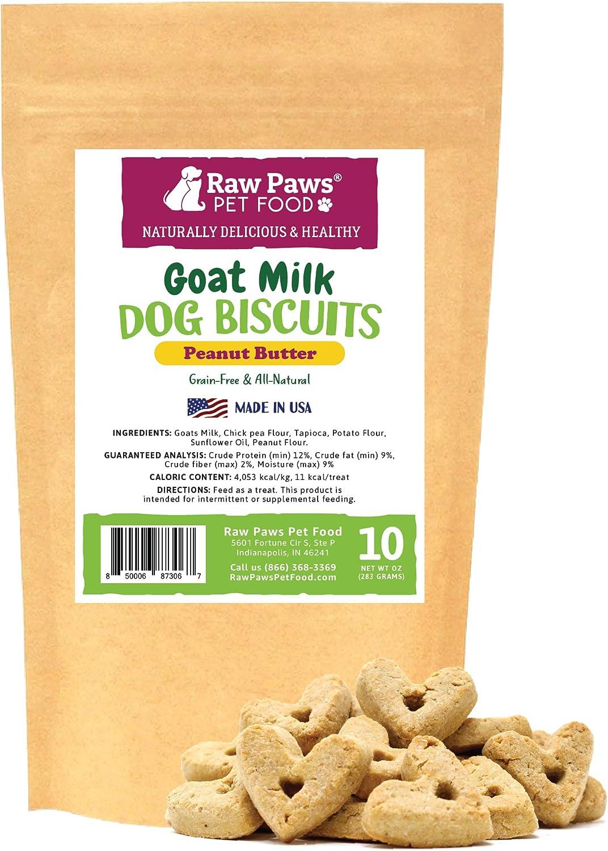 Amazon Com Raw Paws Goat Milk Dog Treats Peanut Butter Recipe 10 Oz Made In Usa Grain Free Peanut Butter Dog Treats Made With Nutritious Goats Milk For Dogs Wheat Free Heart