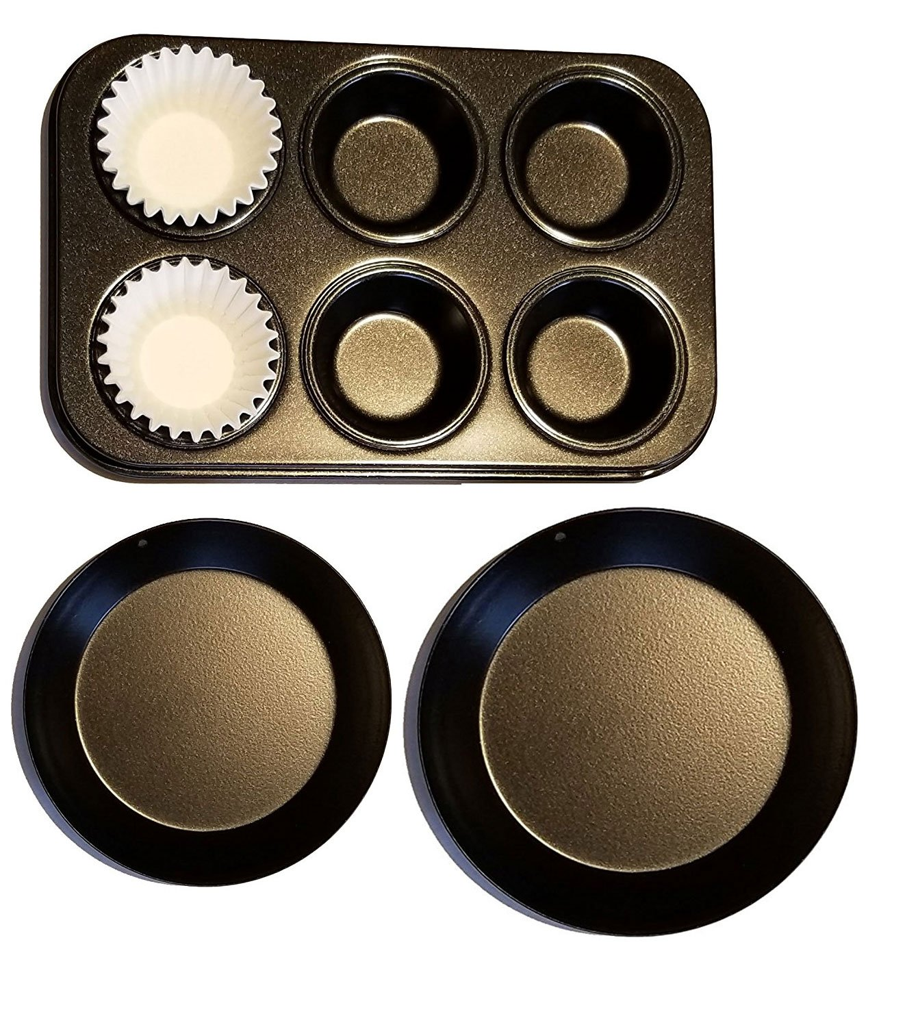 E&B Easy Bake Oven Extra Pan Set of 3 Replacements Non Stick Pans for Toy Ovens Cupcake pan and 25 Papers by E&B