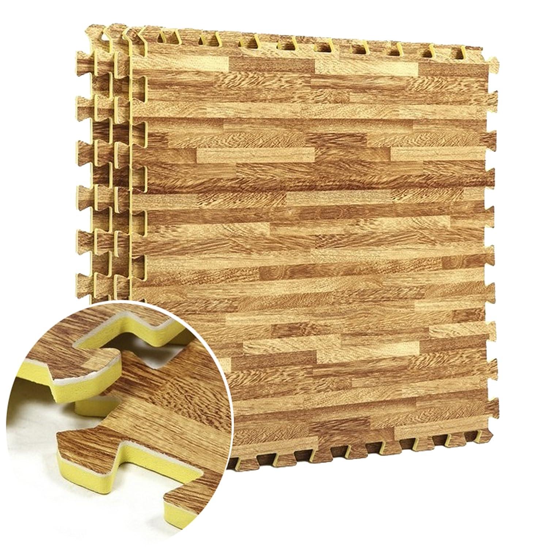 Funkybuys®, tappetino effetto legno ad incastro in EVA, ideale come rivestimento per palestre officine o per bambini, dimensioni tassello singolo  60 x 60 cm, SI-052-WoodEffect-24pk-96sq.ft, 24 Pack (96 Sq.Ft)