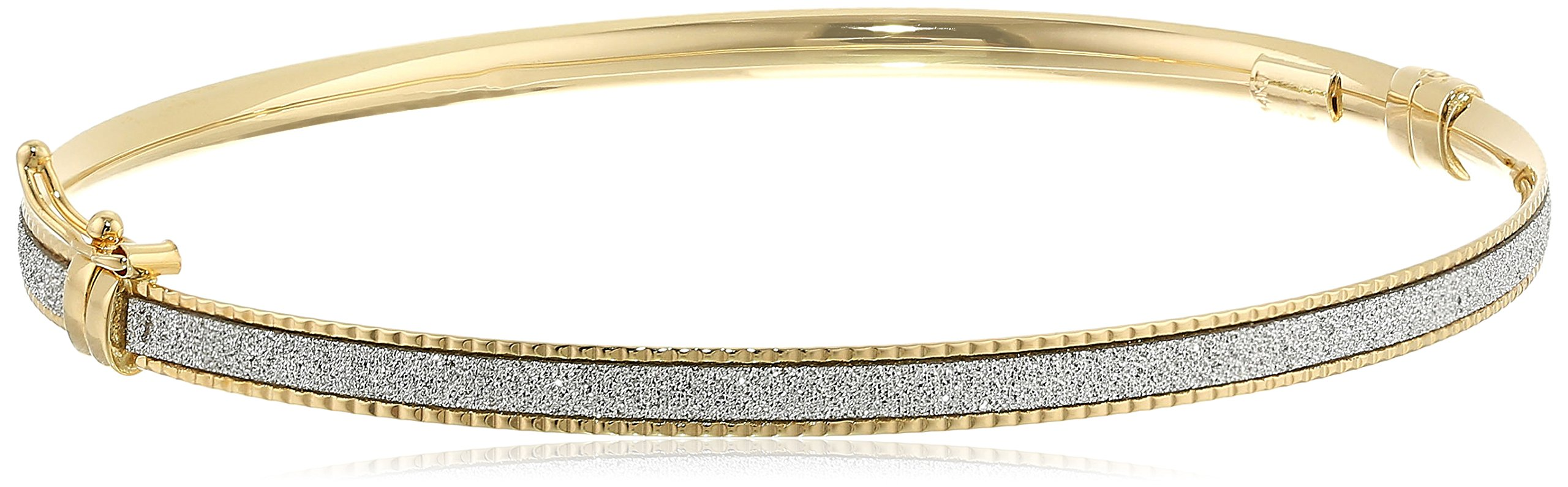 14k Italian Yellow Gold Glitter Bangle Bracelet
