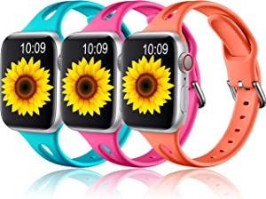 Getino Sport Band Compatible with Apple Watch 42mm 44mm Series 6 5 4 3 2 1 SE Bands for iWatch Women Men Soft Slim Silicone Wristband, 3 Pack, Barbie Pink, Teal, Coral