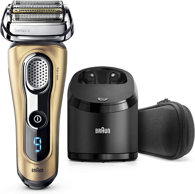Braun Series 9 9299 cc - Afeitadora eléctrica hombre Wet&Dry, afeitadora barba con estación de limpieza y carga Clean&Charge, regalo, oro