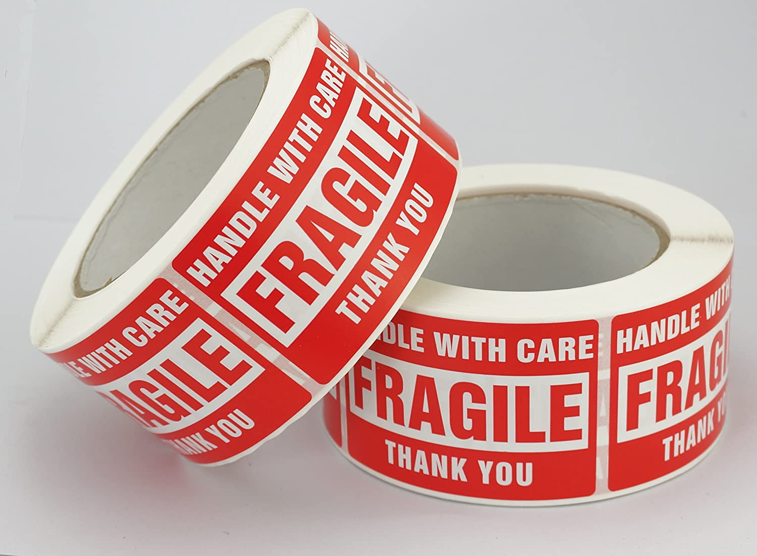 10 Rolls//5000 Labels,Handle With Care 50mm x 75mm Fragile Red Warning Shipping Label Stickers Thank You