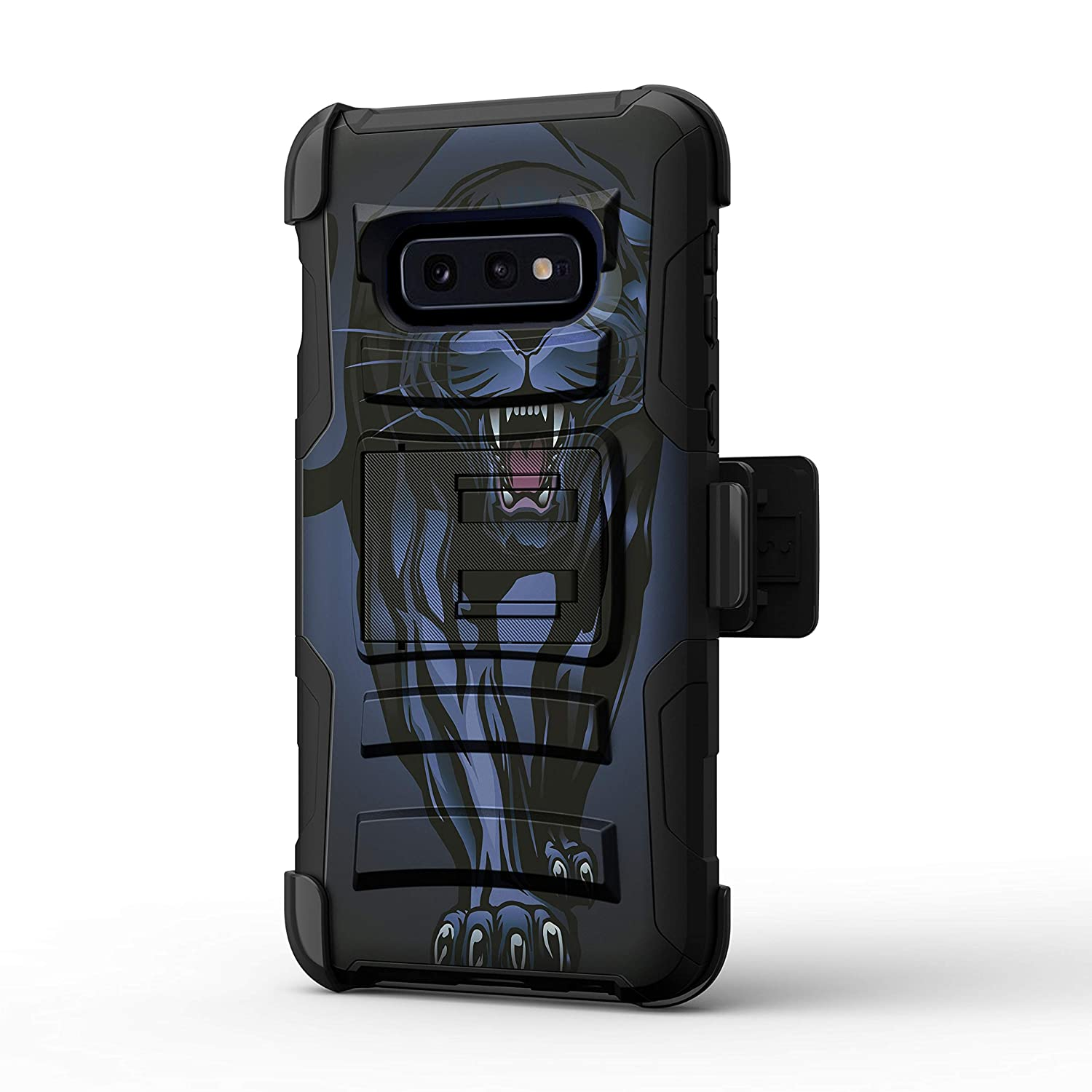 TurtleArmor | Compatible with Samsung Galaxy S10e Case | S10e Case | S10 Lite Case | G970 [Hyper Shock] Hard Dual Layer Hybrid Rugged Belt Clip Holster Kickstand Case Animal - Fierce Panther