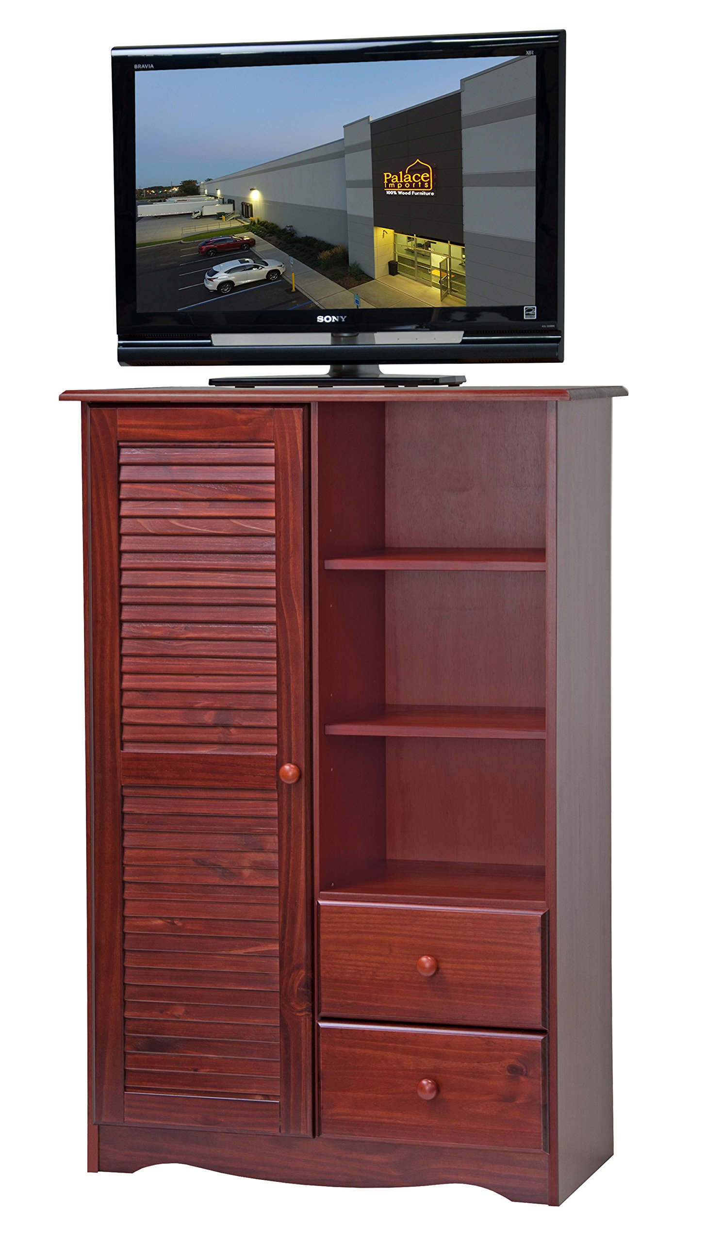 100% Solid Wood Door Chest by Palace Imports, Mahogany Color, 35'' W x 53'' H x 17'' D, 5 Shelves Included. Requires Assembly.