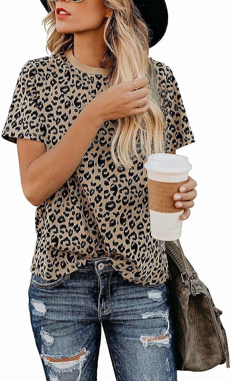 Womens Short Sleeve Casual Shirt Leopard/Camouflage Print Cute Basicc Blouse Top