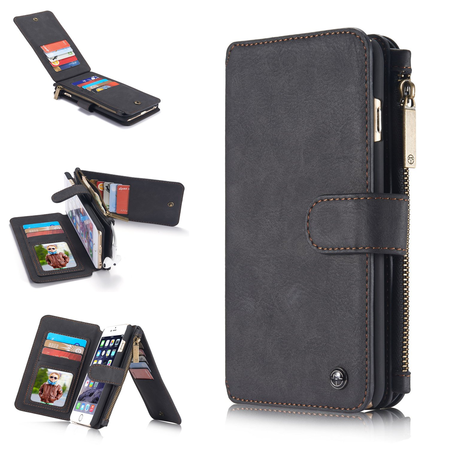 iPhone 6S Plus/6 Plus Wallet Case,KAIFX [2-in-1] Multifunction Advanced Flip Durable Leather Cash Holder Zipper Wallet Case With Removable Magnetic Hard Cover For iPhone 6/6S Plus(5.5'') (Black)