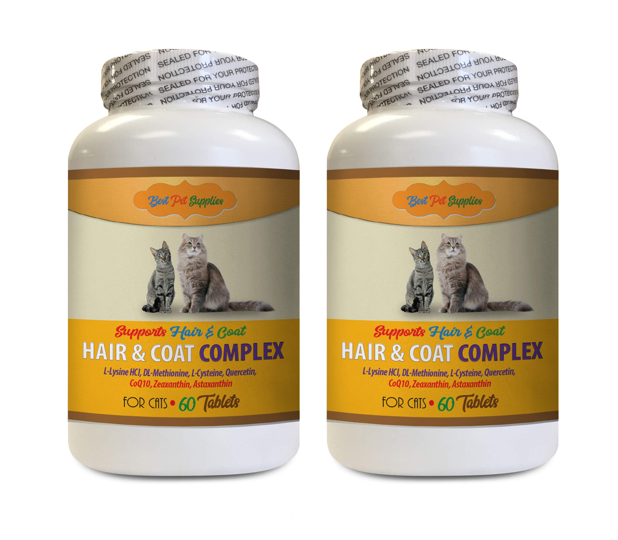 cat Itchy Skin Relief - Best Cats Hair and Coat Complex - Itch Relief Support - Nail Health - cat Vitamin b Supplement - 120 Tablets (2 Bottles) by BEST PET SUPPLIES LLC