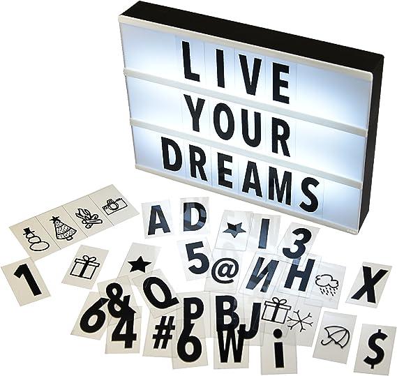 Gadgy ® Caja de Luz Cinematográfica A4 | Cinema Lightbox con 96 Letras Números y Símbolos | Tamaño 30x22x4,5cm | Funciona con Pilas | Caja Luz LED Vintage: Amazon.es: Iluminación