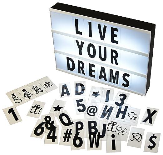 Gadgy ® Caja de Luz Cinematográfica A4 | Cinema Lightbox con 96 Letras Números y Símbolos