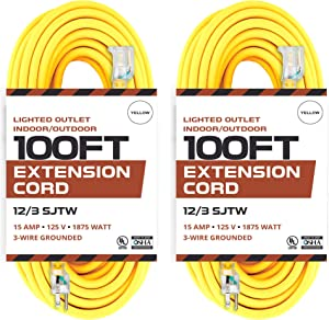 2 Pack of 100 Foot Lighted Outdoor Extension Cord - 12/3 SJTW Heavy Duty Yellow Extension Cable Extension Cable with 3 Prong Grounded Plug for Safety - Great for Garden and Major Appliances